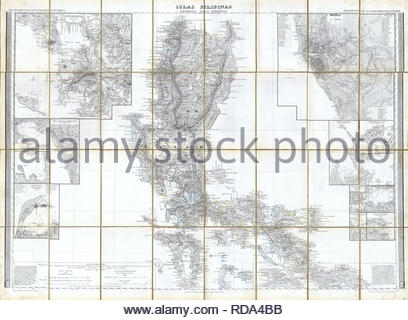 1852, Coello, Morata Case Map of the Philippines. - Stock Photo