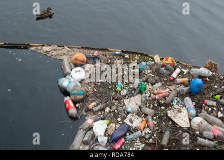 Discarded rubbish found along the River Lea in London, UK - Stock Photo