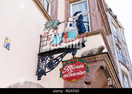 Strasbourg, France - September 09, 2018: signboard of an Alsatian museum in Strasbourg. Strasbourg is the capital and largest city of the Grand Est, t - Stock Photo