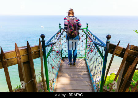 Glowe, Germany - May 10, 2018: Victoria View at the Koenigsstuhl on Ruegen with unidentified people. The area is part of the Jasmund National Park and - Stock Photo