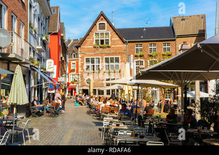Aachen, Germany - October 12, 2018: square in the old town of Aachen with unidentified people. Aachen is a spa town in North Rhine-Westphalia and was  - Stock Photo