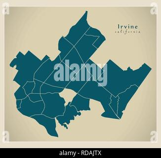 Modern City Map - Irvine California city of the USA with neighborhoods - Stock Photo