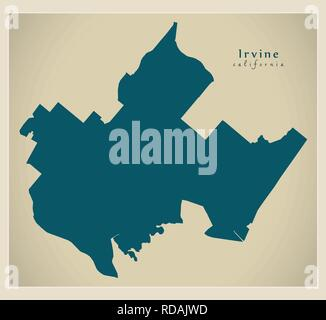 Modern City Map - Irvine California city of the USA - Stock Photo