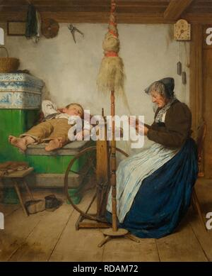 Surprising Grandmother At A Spinning Wheel And A Sleeping Boy On An Machost Co Dining Chair Design Ideas Machostcouk