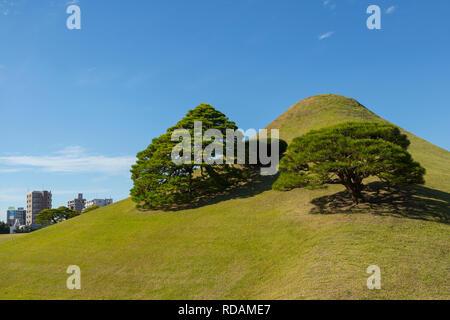 Kumamoto, Japan - November 11, 2018: Small mountain Fuji in Suizenji Garden, Suizenji Jōjuen, Japanese style landscape garden - Stock Photo