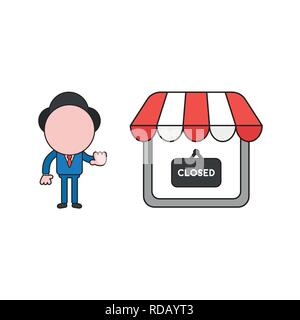 Vector illustration businessman character make hand stop sign with shop store and closed written on hanging sign. Color and black outlines. - Stock Photo