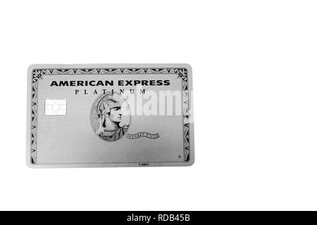 Platinum silver american express card - Stock Photo