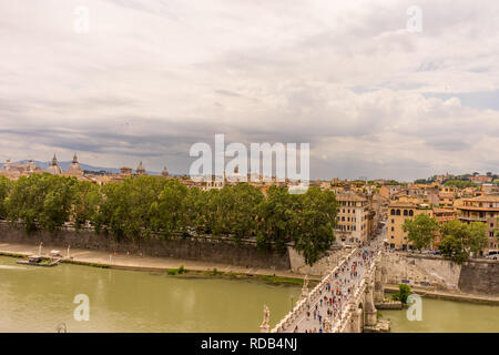 Rome, Italy - 23 June 2018: The streeet of  Via della Conciliazione towards Castel Sant Angelo, Mausoleum of Hadrian. Famous world landmark. Scenic ur - Stock Photo