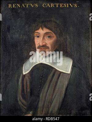 Portrait of the philosopher René Descartes (1596-1650). Museum: Universiteitsbibliotheek Leiden. Author: ANONYMOUS. - Stock Photo