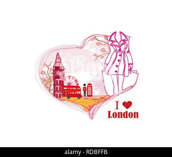 Woman shopping in London card - Stock Photo