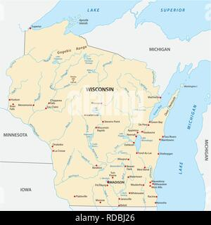 Vector Map of the U.S. state of Wisconsin - Stock Photo