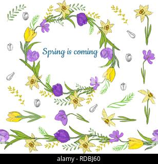 Colorful wreath from various spring flowers. Endless horizontal brush. Seamless horizontal border. Vector hand drawing illustration. - Stock Photo
