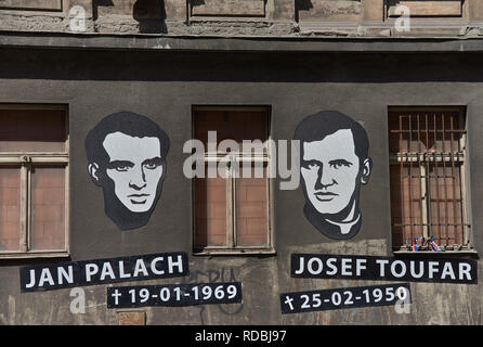 Prague, Czech Republic - July 7, 2017: Portraits and dates of birth and death placed in memory and honor of Jan Palach and Josef Toufar. - Stock Photo