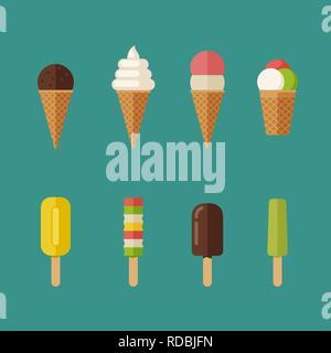 Ice cream flat icons set - Stock Photo