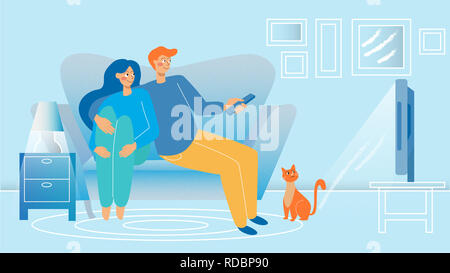 Young Couple watching TV . - Stock Photo