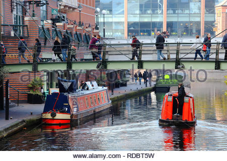 A view of the canal area in downtown Birmingham England - Stock Photo