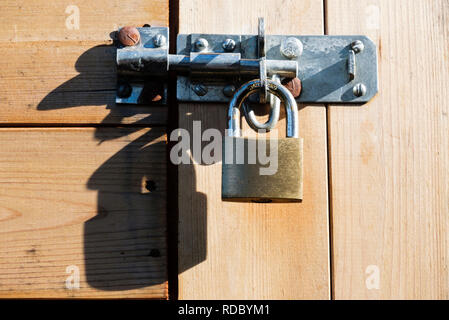 Brass padlock with hardened steel shackle securing a bolt on a wooden shed door locking it for security. UK - Stock Photo