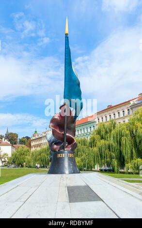 Prague war memorial Prague Monument to fallen soldiers during World War II Památník padlým vojákům II. světové války Prague Czech Republic Europe - Stock Photo