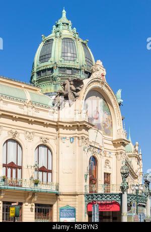 Prague Municipal House Obecní dům Art nouveau venue hosting classical concerts opera and ballet Náměstí Republiky Prague Czech Republic Europe - Stock Photo