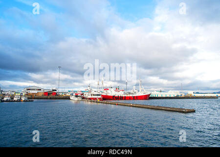 Reykjavik, Iceland - October 13, 2017: travel by ship on summer vacation. When in doubt, go on vacation. A big ship needs a big sea. - Stock Photo