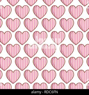 hearts love with stripes pattern - Stock Photo