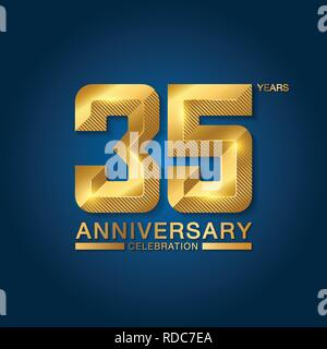 35 years anniversary celebration logotype. Golden anniversary emblem with ribbon. Design for booklet, leaflet, magazine, brochure, poster, web, invita - Stock Photo