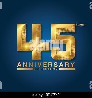 45 years anniversary celebration logotype. Golden anniversary emblem with ribbon. Design for booklet, leaflet, magazine, brochure, poster, web, invita - Stock Photo