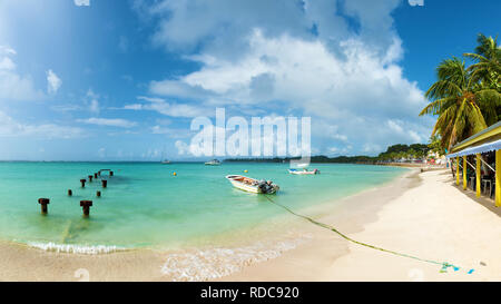 Saint Anne beach, Guadeloupe, French West Indies, panoramic view. - Stock Photo