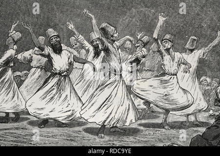 Whirling dervishes dancing. Engraving. 19th century. Turkey. - Stock Photo