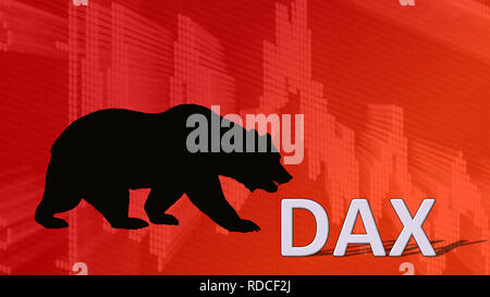 The German blue chip stock market index DAX is falling. Behind the word Dax is a black bear silhouette looking down on a red descending chart in the... - Stock Photo