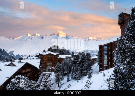 Looking out over Arc 2000 to Mont Blanc as the sun rises.