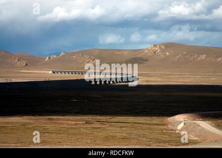 view from the Tibetan railway - Stock Photo