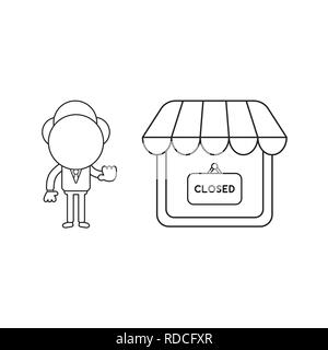 Vector illustration businessman character make hand stop sign with shop store and closed written on hanging sign. Black outline. - Stock Photo
