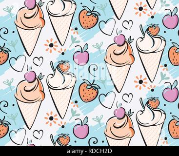 Ice cream with strawberry, cherry. Pink creame red, blue, black outline hand made drawing for kids, adult, caffee, snack bar - Stock Photo