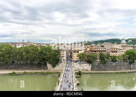 Rome, Italy - 23 June 2018: Cityscape of Rome with Tiber river and bridge viewed from  Castel Sant Angelo, Mausoleum of Hadrian - Stock Photo