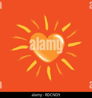 shiny yellow heart sun love vector illustration EPS10 - Stock Photo