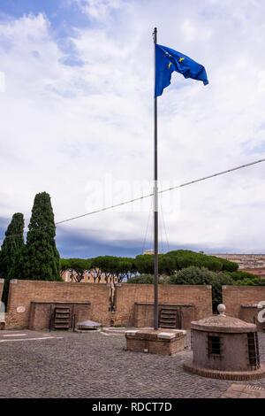 Rome, Italy - 23 June 2018: European Union EU Flag flying at the Castel Sant Angelo, Mausoleum of Hadrian in Rome, Italy - Stock Photo