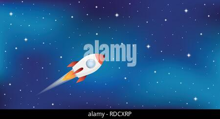rocket ship in starry space vector illustration EPS10 - Stock Photo