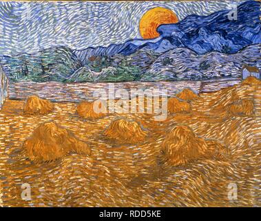 Landscape with wheat sheaves and rising moon. Museum: Kröller-Müller Museum, Otterlo. Author: VAN GOGH, VINCENT. - Stock Photo