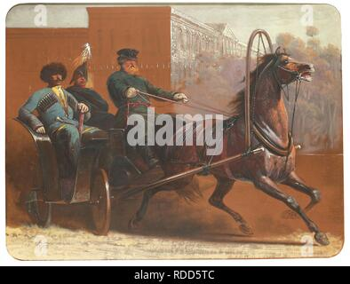 A coach ride through Saint Petersburg. Museum: PRIVATE COLLECTION. Author: YVON, ADOLPHE. - Stock Photo