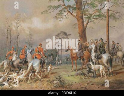The hunting party of Emperor Alexander II. Museum: PRIVATE COLLECTION. Author: ZICHY, MIHALY VON. - Stock Photo