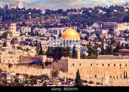 The dome of the rock in Jerusalem, Israel - Stock Photo