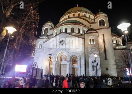 Belgrade, Serbia. 17th Jan, 2019. BELGRADE, SERBIA - JANUARY 17, 2019: A view of the Church of Saint Sava. Mikhail Metzel/TASS Credit: ITAR-TASS News Agency/Alamy Live News - Stock Photo