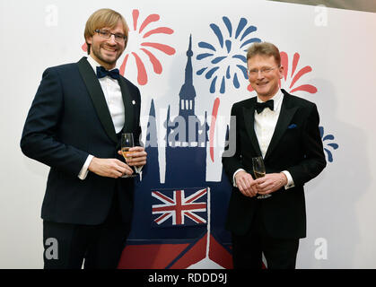 Some 20 cultural, political and social events will commemorate 100 years of British Embassy in Prague this year in the programme #stolet (#hundredyears) launched today, on Thursday, January 17, 2019, in Thunovsky Palace, the embassy seat, in Prague. The events celebrating the British-Czech relations take place in the year when Britain is to leave the EU. British Ambassador Nick Archer (on the photo right poses with Czech Health Minister Adam Vojtech) said the programme would show how diverse and lively the British-Czech relations were at the moment but it would also look towards the future as - Stock Photo