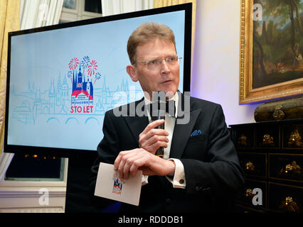 Some 20 cultural, political and social events will commemorate 100 years of British Embassy in Prague this year in the programme #stolet (#hundredyears) launched today, on Thursday, January 17, 2019, in Thunovsky Palace, the embassy seat, in Prague. The events celebrating the British-Czech relations take place in the year when Britain is to leave the EU. British Ambassador Nick Archer (photo) said the programme would show how diverse and lively the British-Czech relations were at the moment but it would also look towards the future as Britain wants to strengthen the relations further in the 10 - Stock Photo