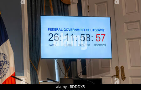 New York, USA. 17th Jan 2019. Federal government shutdown clock in City Hall during a press conference in the Blue Room on Thursday, January 17, 2019 on the effects of the government shutdown on funding of services in New York. As the shutdown progresses funding for Section 8 vouchers, SNAP benefits and an assortment of other services will cease putting New Yorkers who rely on them at risk.  Credit: Richard Levine/Alamy Live News - Stock Photo