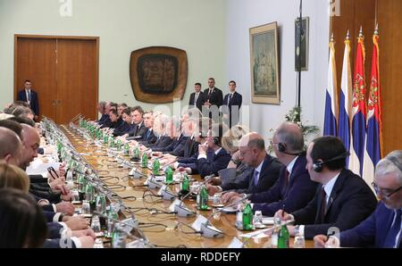 Belgrade, Serbia. 17th January, 2019. Russian President Vladimir Putin, right center, during an expanded bilateral meeting with Serbian President Aleksandar Vucic and delegations January 17, 2019 in Belgrade, Serbia. Credit: Planetpix/Alamy Live News - Stock Photo