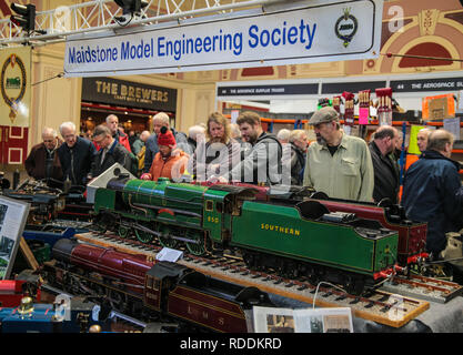 "London, UK. 18th Jan, 2019. The London Model Engineering Exhibition shows the full spectrum of modelling from traditional model engineering, steam locomotives and traction engines through to the more modern gadgets including trucks, boats, aeroplanes and helicopters as featured on ""The One Show"".Over Over 50 clubs and societies were present, displaying their members work and competing to win the prestigious Society Shield. In total, nearly 2,000 models are on display.@Paul Quezada-Neiman/Alamy Live News Credit: Paul Quezada-Neiman/Alamy Live News - Stock Photo"