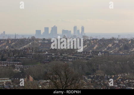London, UK. 18th Jan, 2019. London's financial district is seen from Alexandra Palace on a cold and sunny day in the capital. Credit: Dinendra Haria/SOPA Images/ZUMA Wire/Alamy Live News - Stock Photo
