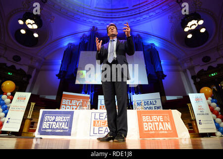 Leave Means Leave founder Richard Tice speaking at a Leave Means Leave rally at Central Hall in London. - Stock Photo